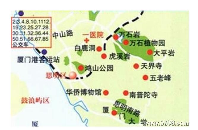 厦门手绘景点地图