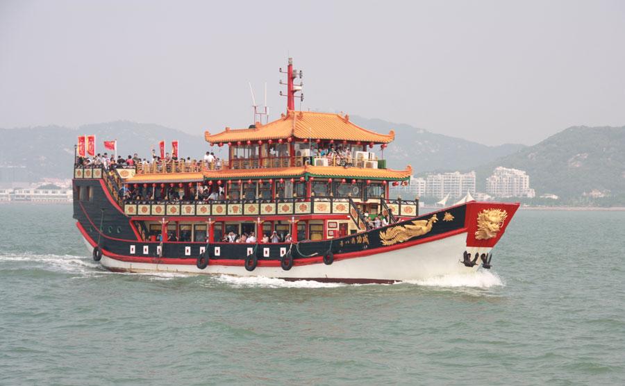 鼓浪屿轮船手绘